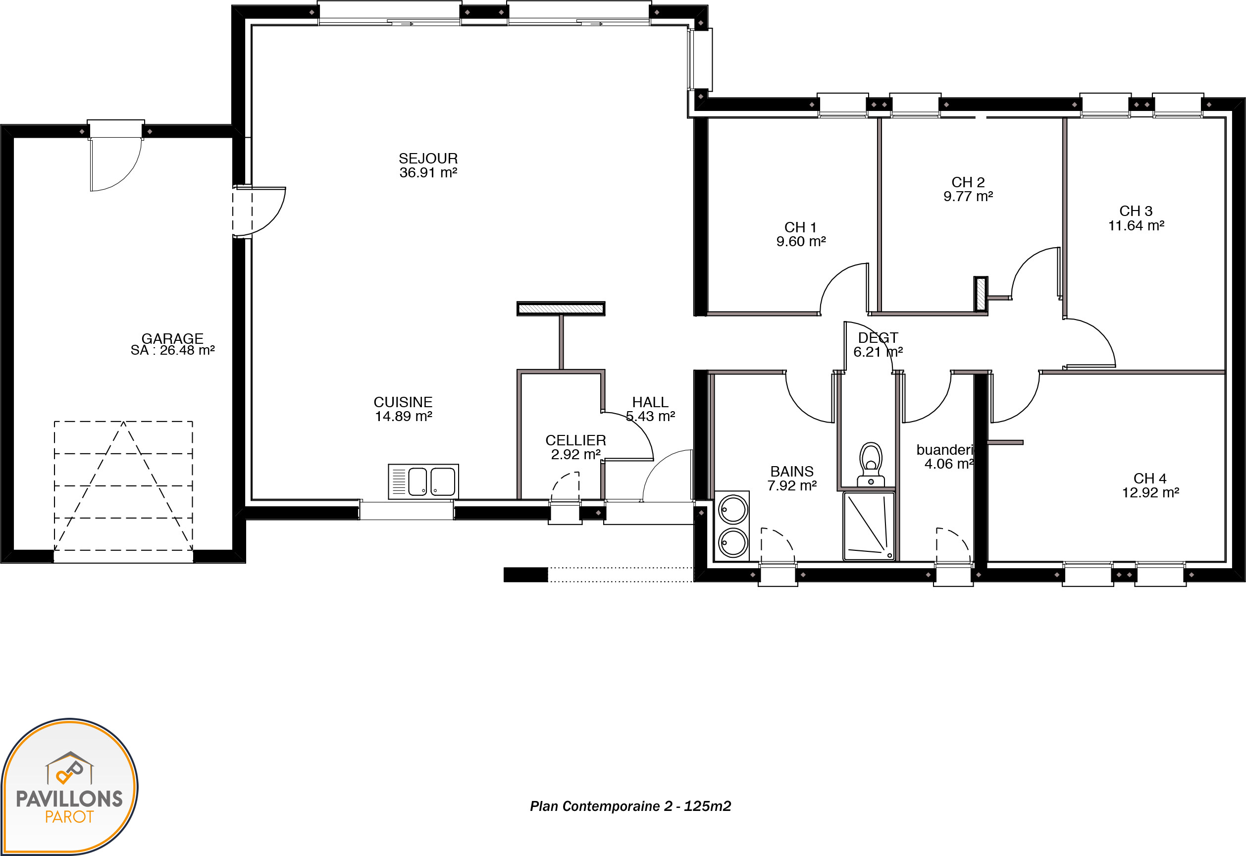 Maison contemporaine avec toiture monopente for Plan maison monopente
